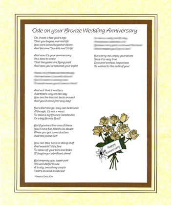 Ode on Your Bronze Wedding Anniversary
