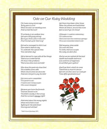 Ode on Your Ruby Wedding Anniversary