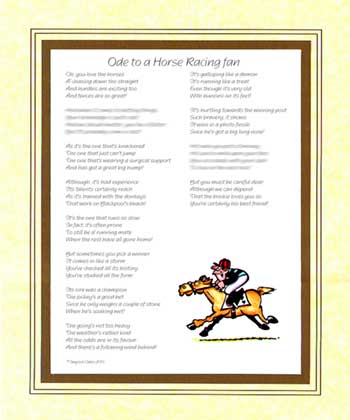 Ode to a Horse Racing Fan