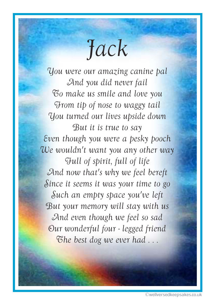 "Sample Laminated Memorial Poem (A5 Approx 6"" x  8"")"