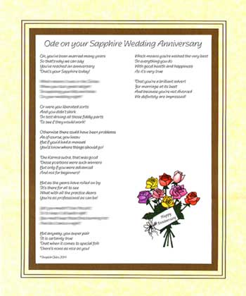 Ode on Your Sapphire Wedding Anniversary