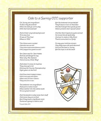Ode to a Surrey Cricket Supporter