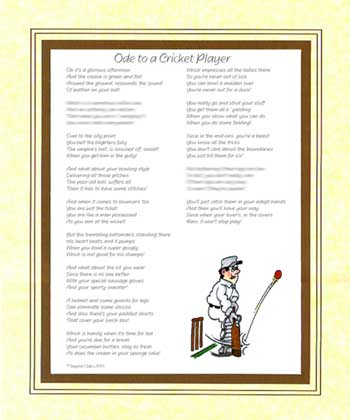 Ode to a Cricket Player