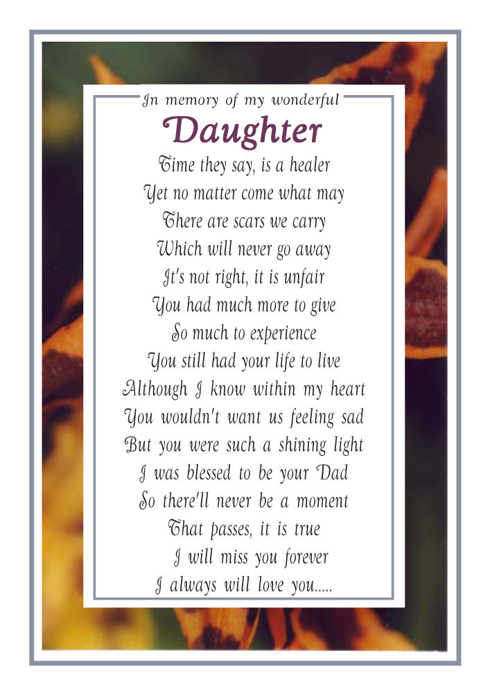 My Daughter - From a Dad - Memorial